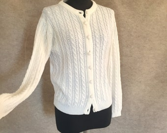 Vintage 70's Cardigan Sweater, White Cabled Knit, Small to Medium Bust 38, Vegan Friendly