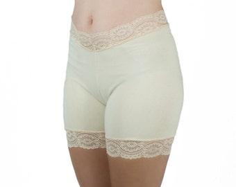 Light Beige Lace Shorts Nude Underwear Modesty Shorts Layer Undies