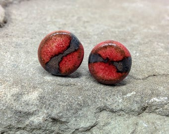 10mm Bright Red Stud Earrings, Red Gold Ear Studs, Red Ceramic Post Earrings, Round Post Earrings, Bright Red and Bronze Ceramic Earrings