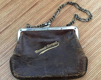 Antique Coin Purse Leather Purse Brown Silver Plate Framework And Chain Souvenir Circa 1900 French