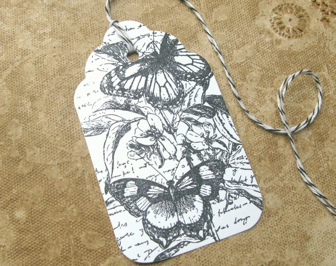 French Butterfly Gift Tags, Vintage Style Script Writing, Wedding Favor Tags,Gift Wrap, Wish Tree Cards, 6 Tags