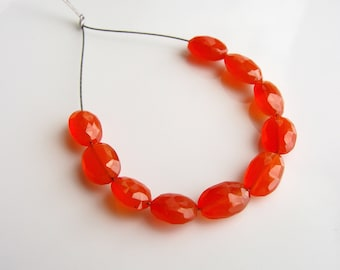 Carnelian Faceted Oval Beads, Faceted Carnelian Beads, Red Orange Carnelian, Faceted Oval Beads, Carnelian Oval Beads, 6-8mm, (10), destash