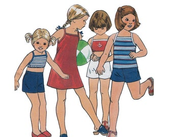 """1970's Butterick 5473 Girl's Summer Sundress, Top, Shorts Size 3-4    Bust 22-23""""/ 56-58cm    Vintage Sewing Pattern"""