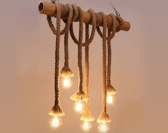 Bamboo Rope Lamp Chandelier,dining Room, Kitchen And Living Room,rope  Chandelier,