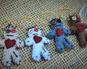 VooDoo wine rings-VooDoo Wedding-Halloween wedding-Gothic wedding Wine glass rings-Mini voodoo doll glass rings-party favors