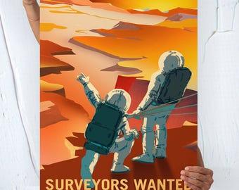 Nasa Mars ( SURVEYORS WANTED ) - Travel Poster
