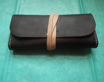 Dark Brown Pebbled Leather Gusseted Clutch / Wallet / Phone Case  - USA Leather!