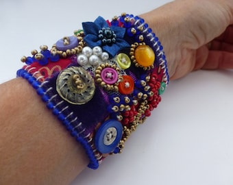MOTHERS DAY CUFF, Red and blue embroidered, button and beaded cuff.  Original, one of a kind, uk seller