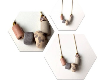 Neutral Taupe Ceramic Bead Necklace