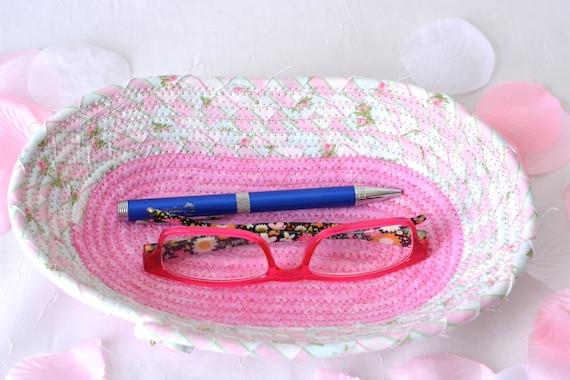 Cute Eyeglass Basket, Handmade Candy Dish, Handmade Key Basket, Ring Holder Bowl, Pink Desk Accessory, Spring Rose Bud Basket