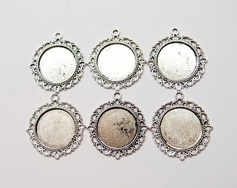 6 of 20 mm Round Antique Silver Plated Four Loops Pendant Settings, for Cameos, Cabochons, Glass, or Coins, Very Nice