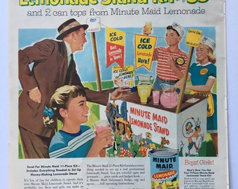 1956 Minute Maid Lemonade Magazine Ad Art - Lemonade Stand Kit Ad, Classic Ad Art