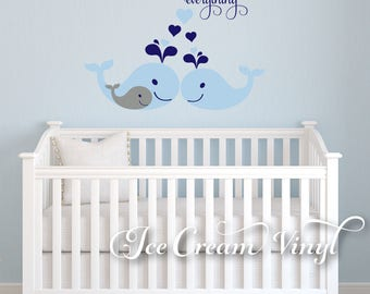 Whale Decal, First We Had Each Other, Nursery Wall Decal, Vinyl Decals, Whale Family