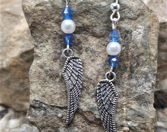 Beads and metal Angel Wings earrings