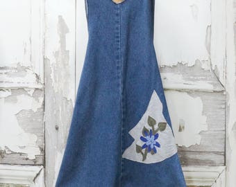 Childrens Upcycled Clothing Jean Cross Back Pinafore Apron Dress Little Girls Denim Apron Dress 2T