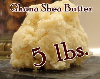 SHEA BUTTER, 5 lbs Ghana Fair Trade, Raw, Unrefined Organic (5 pounds)