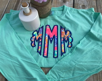 Embroidered Applique Monogram Comfort Colors Long Sleeve T-Shirt