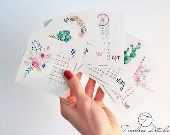 Cute Mini Boho Desk Calendar 2018
