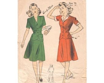 Damen 40er Jahre Anzug Muster Vintage 5858 Jahrgang 1940er Jahre zweiteilige Kleid Jacke & Rock Damen Schnittmuster Größe 14
