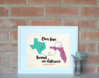 Love Knows No Distance Long Distance Love Map 8x10 Print. Two State Couple Art Print. Personalized Long Distance Love Map. Engagement Gift.