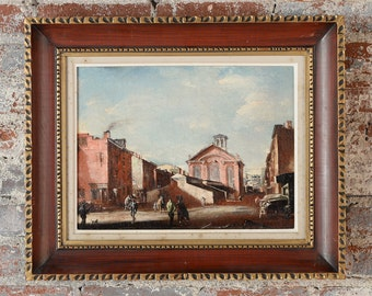 French Impressionist Street Scene Oil Painting c.1900s