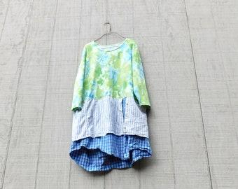 Sommer Kleid, Tunika Damen, Frauen Kleidung, Blumen, rekonstruieren, Upcycled Kleidung, T-Shirt-Kleid, Frühling Blumen, Kleid, Tunika, CreoleSha
