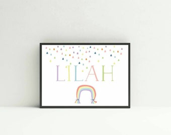 Rainbow and Raindrops  Name Print - Nursery Print
