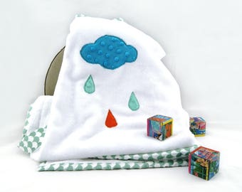 Baby blanket with cloud - White baby blanket - White fleece blanket
