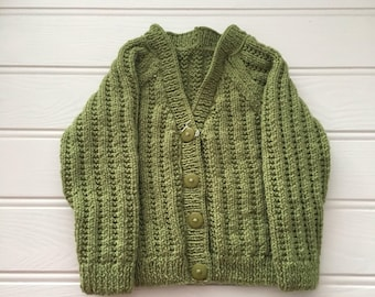 Green Cardigan, Size 12 months, Baby Boy's Cardigan, Boy's Cardigan, Style 5, Boy's V-Neck Cardigan, Ready to ship