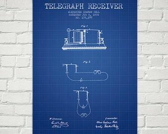 1876 Alexander Bell Telegraph Receiver Patent Wall Art Poster, Home Decor, Gift Idea