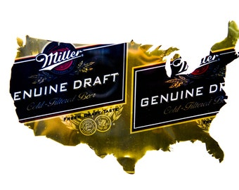 MGD (Miller) United States of America Custom Hand Cut Beer Can Art in a Floating Frame- Unique and Perfect for your Bar or Man Cave!