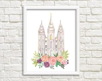 Salt Lake City, Utah LDS Temple Watercolor Print, LDS Artwork