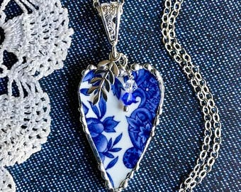 Necklace, Broken China Jewelry, Broken China Necklace, Heart Pendant, Blue Transferware, Sterling Silver, Soldered Jewelry