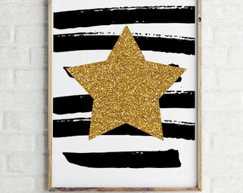 Gold Glitter Stars, Baby Digital Art Print, Printable Wall Art, Nursery Art, modern nursery, Instant download,glitter wall print  (BabyArt2)