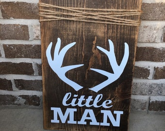 "Rustic Woodsy Baby Boy Nursery Wooden Sign ""Little Man"" with Antlers FREE SHIPPING"