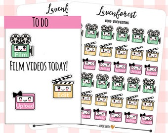 youtube planner stickers, film/video/edit/upload stickers, stickers for use with erin condren life planner/happy planner/personal, W0002