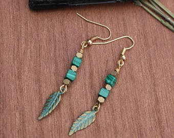 Malachite and Pyrite Earrings