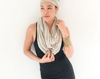 Onuma scarves-  Infinity scarf cream and coral  Winner scarf