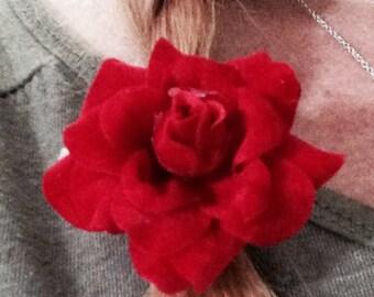 Dark Red Silk Flower Hair Clip
