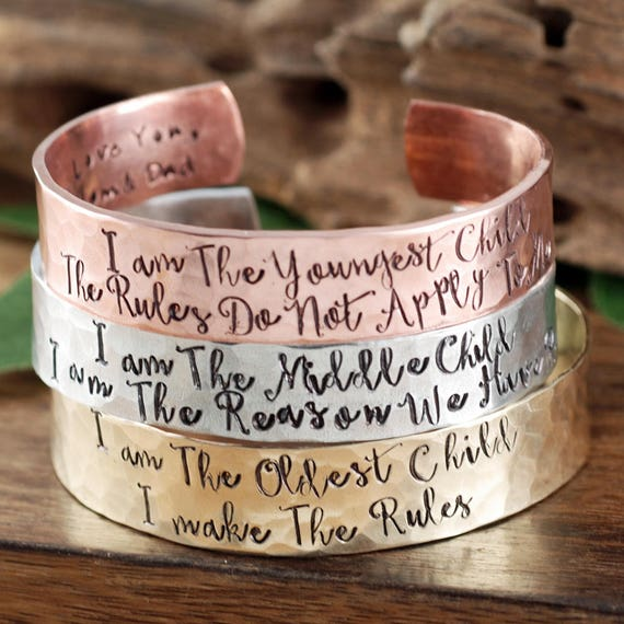 Custom Cuff Bracelet, I am the oldest Child Gift, Jewelry for Daughters, Gift for Daughter, Personalized Cuff Bracelet, Gift for Her