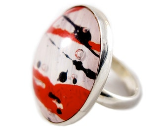 Red White Black Ring - Steampunk Ring - Bold Ring - Red Ring - Statement Ring - Large Ring - Recycled Sterling Ring - Silver Resin Ring