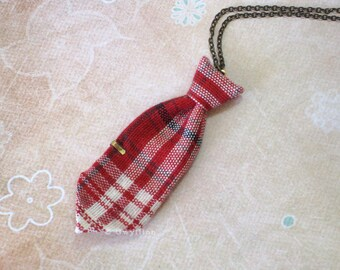 Unisex Mini Tie Red Plaid Necklace Pin
