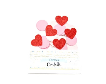 Red Glitter Heart & Pale PInk Circle Confetti - Valentines Confetti, Party Confetti, Wedding Decor, Table Decor, Glitter Confetti