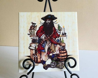 Art Tile, Blackbeard Pirate. Original historical pirate splash tile, wall décor for steampunk, nautical home, bathroom or kitchen.