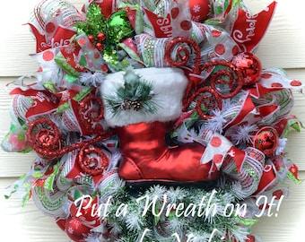 Deco Mesh Christmas wreath with Santa Boot