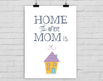 fine-art print poster Home is where mom is Mother's Day