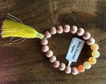 Agate & Rosewood -Fine-Apple- Mala/Diffuser Bracelet