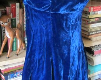 SALE 1960s Blue Velvet Mini Dress Extra Small  Small Boho Hipster Mod Costume