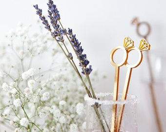 Diamond Ring Cocktail Stirrers - Engagement Party - Bridal Shower Decor - Wedding Favours - Gold Drink Stirrers - Party Supplies