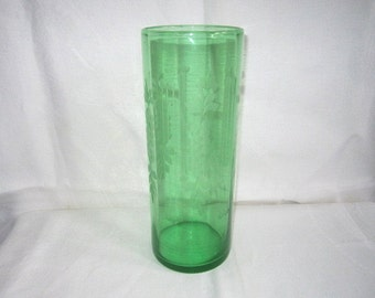 "Vintage 1940s Gorgeous Green Large 10"" Etched Glass Cylindrical Vase"